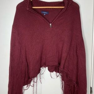 Burgundy, distressed, cozy sweater
